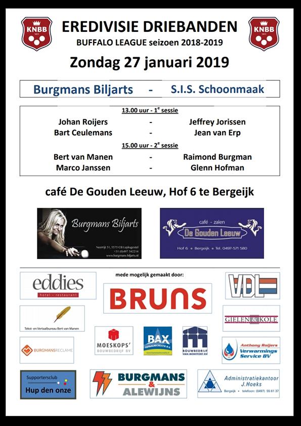 Eredivisie Driebanden januari 2019